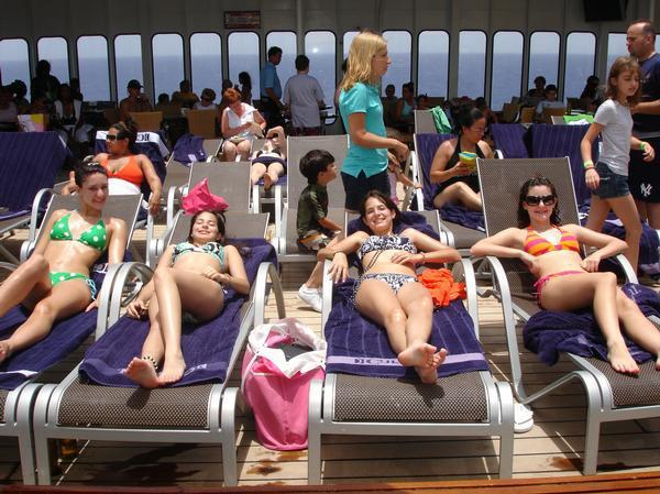 sun bathing on a cruise ship