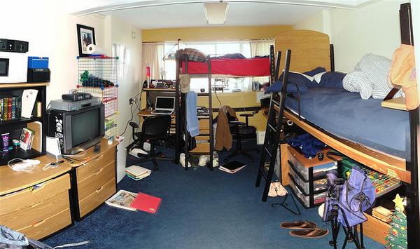 college dorm room: messy