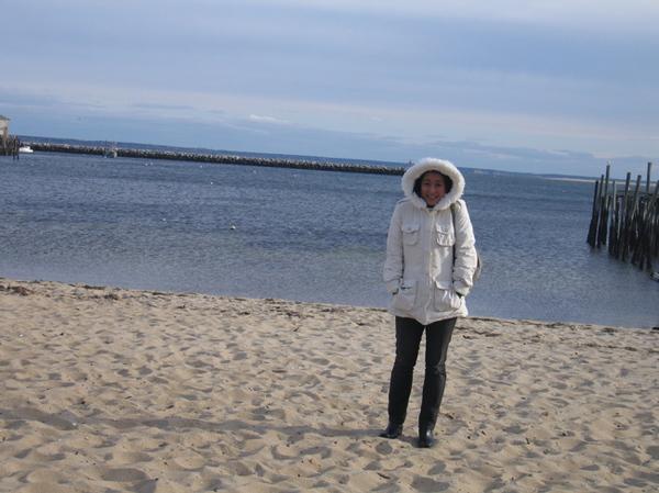 winter coat at the beach